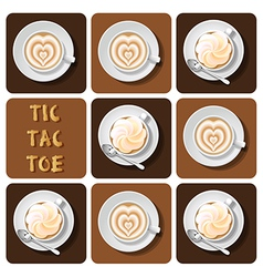 Tic-tac-toe of latte vector