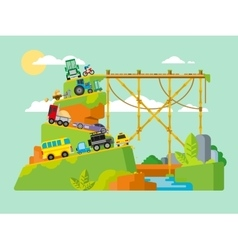 Traffic jam on road in mountains vector
