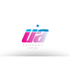 ua u a alphabet letter combination pink blue bold vector image vector image