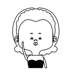 Young woman portrait character lady cute vector