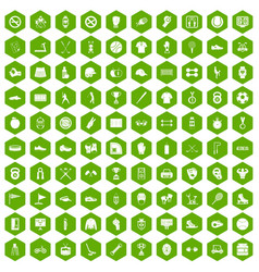 100 sport equipment icons hexagon green vector
