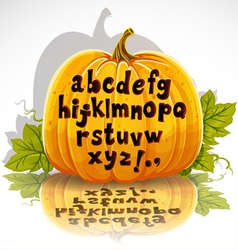 Happy halloween cut out pumpkin small letters vector