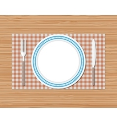 Knife fork plate red checked cloth wooden desk vector