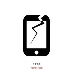Broken smartphone icon vector