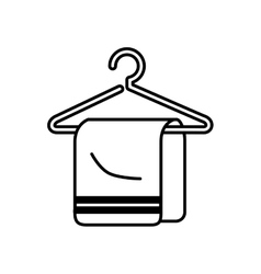 Towel hanging in hook isolated icon vector