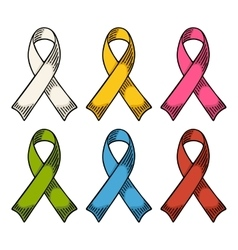 Set color ribbons aids awareness isolated on white vector
