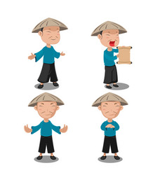chinese people character pose set vector image