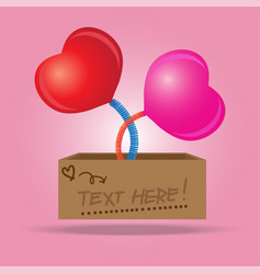 Box with a heart sign symbol jumping out on a vector