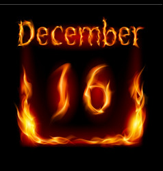 Sixteenth december in calendar of fire icon on vector