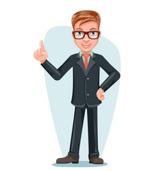Businessman male doctor hand forefinger up cartoon vector