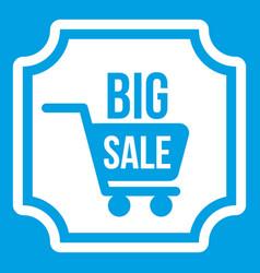 Big sale sticker icon white vector