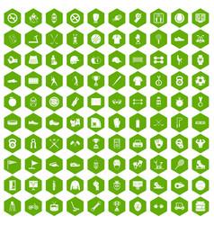100 sport equipment icons hexagon green vector image