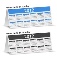 2012 desk calendar vector image