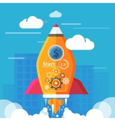 Start up rocket vector image
