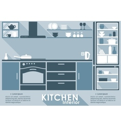 Kitchen interior in flat style vector