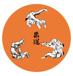 Six wrestlers judo on a red background vector