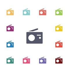 radio flat icons set vector image