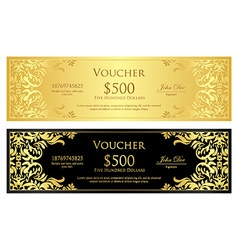 Luxury golden and black voucher with vintage vector