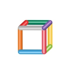 Abstract colored 3d box icon isolated on vector