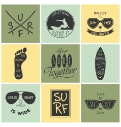 Surfer set vintage elements and labels vector