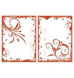 autumn grunge floral frames - vector image