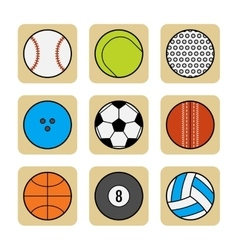 Sports balls set of flat color icons vector