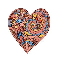 Zentangle doodle heart love with ornaments vector