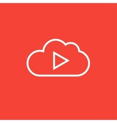 Cloud with play button line icon vector