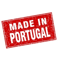 Portugal red square grunge made in stamp vector