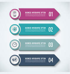 arrow infographic options template with 4 steps vector image vector image