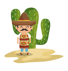Background cactus with man mexican vector