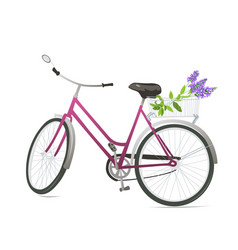 bicycle with flowers vector image vector image