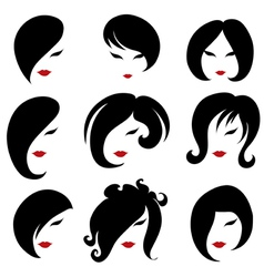 black hair styling for woman vector image