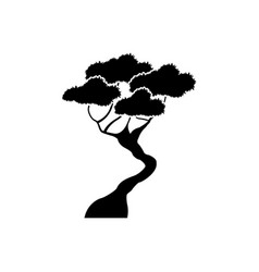 Black tree silhouette branching stem organic image vector