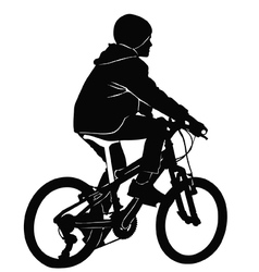 Boy riding a bicycle in black and white vector image