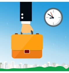 Business hand holding briefcase vector