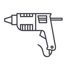caulk gunglue gun line icon sign vector image vector image