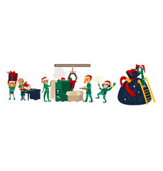 Christmas elves making presents in santa workshop vector