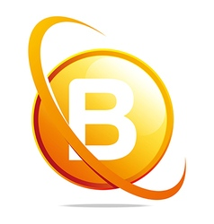 circle globe round letter b orange abstract vector image