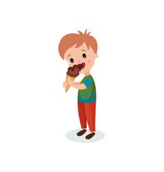 Cute boy licking ice cream cartoon vector
