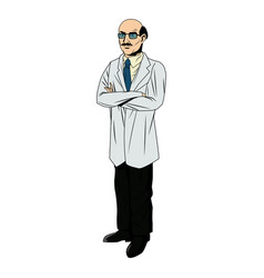 Doctor male bald glasses and coat tie clothes vector