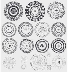 Doodle artistic pattern wreathframeburstblack vector