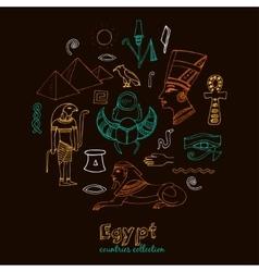 Egypt symbols set sketches vector
