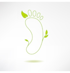 Foot logo with green leaf Ecology and massage vector image