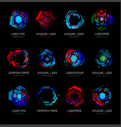 Futuristic reactor abstract colorful logo vector