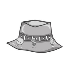Grayscale fishing peasant hat object to warker vector