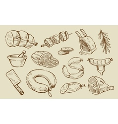 Hand drawn meat vector