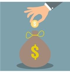 hand put money in bag vector image