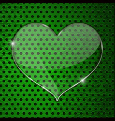 Heart transparent plate on green perforated vector