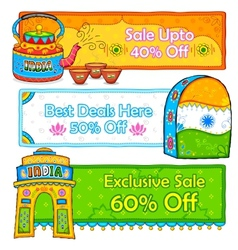 Indian kitsch art style sale and promotion banner vector